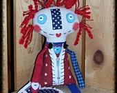 "Folk Art Primsical Whimsical Whimsy Patriotic Raggedy Annie Ann Art Doll ""Starr"" Flag FosterChild Whimseys"
