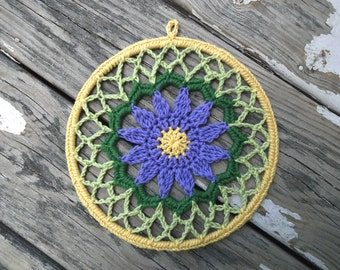 8 inch Purple Flower Crochet Mandala Dreamcatcher Lace Doily Wall Art Hanging, Flower Mandala, Unique Boho Hippie Home Decor