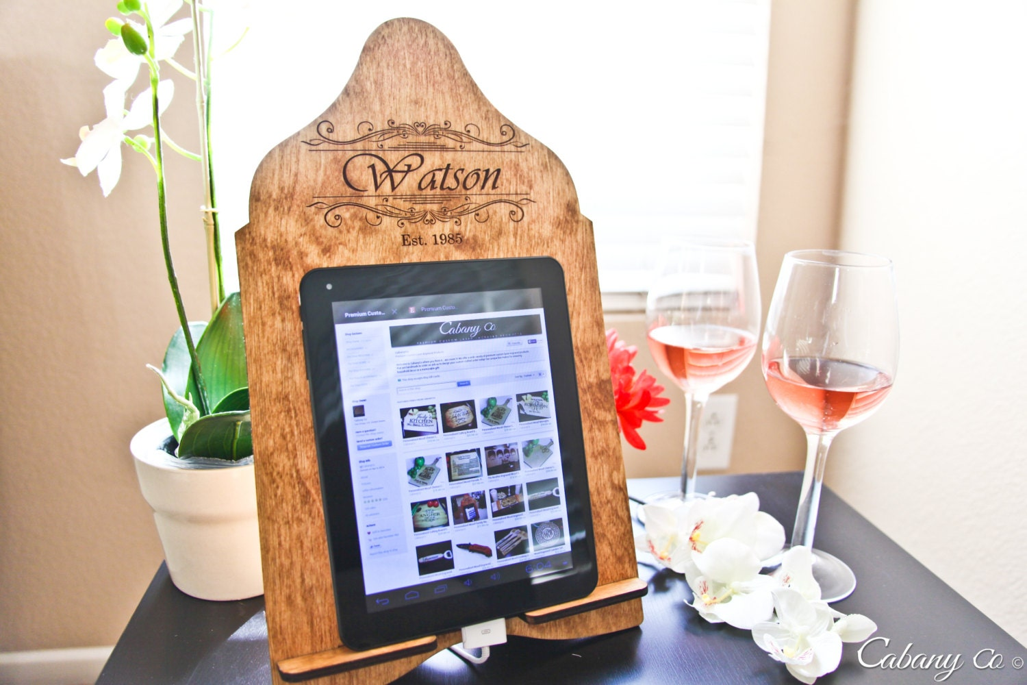 Personalized Tablet Stand Wood Family Name Stand By CabanyCo. Full resolution‎  portrait, nominally Width 1500 Height 1000 pixels, portrait with #9C5D2F.