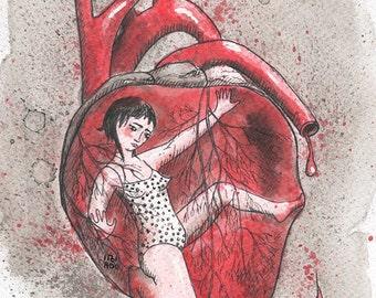 Inside my heart_ artwork_original_drawing of indian ink by itzi hdo