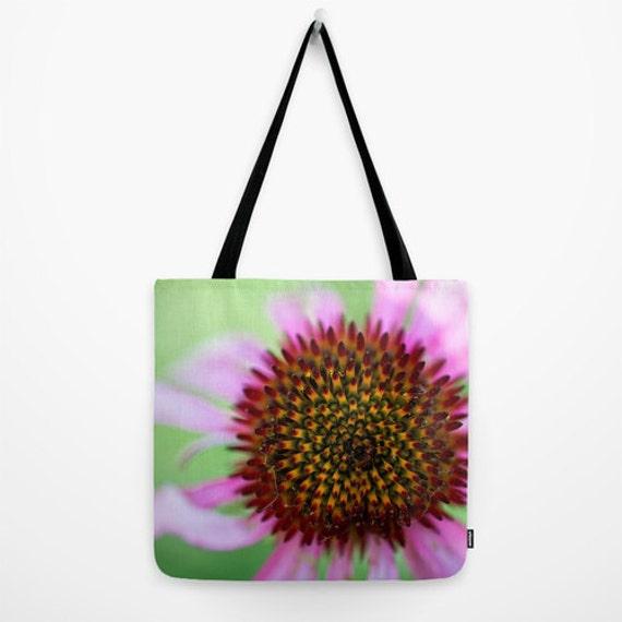 Tote Bag, Purple Flower, Coneflower Photo, Cone Flower, Macro Photography, Nature Image Tote, Gym Bag, Yoga Tote Bag, Reusable Grocery Bag