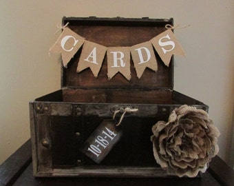 Rustic Wedding Card Box with White Lettering, Vintage Rustic Trunk Wedding Box with Distressed Wooden Date Tag and Burlap Card Banner B1B
