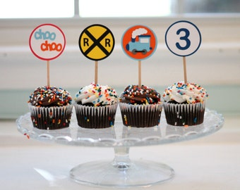 Train Cupcake Toppers in blue and orange- Set of 12