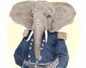 General Harumph - Archival print- Funny animal art - Elephant art print