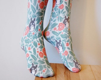 Floral Totoro Thigh High Stockings