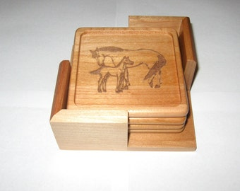 Handcrafted Maple Personalized Wood Coaster Set With Holder