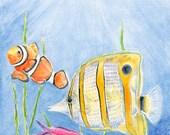 Watercolor Fish Watercolor Painting Fish Print. Tropical Fish Wall Art Fish Decor Fish Wall Decor Ocean Wall Art Sea Wall Art Sea Decor 5x7.
