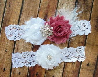 Bridal Garter Set, Wedding Garter, Toss Garter, Feather Garter, Lace Garter, White and Mauve Rose Crystal Garter, White Lace Garter
