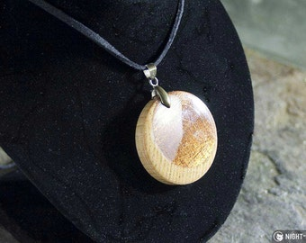 Hardwood Crescent Moon necklace in Sapele & Ash on 20-inch suede with lobster clasp