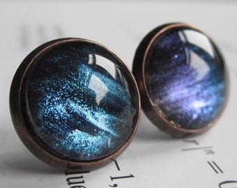 Ison - Earring studs - science jewelry - science earrings - galaxy jewelry - physics earrings - fake plugs - plug earring - nebula studs