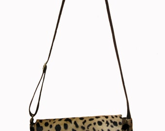 Leopard Print Messenger bag with pony skin.