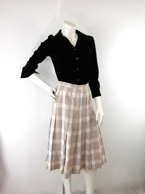 pastel plaid pleated skirt vintage 1980s knee by