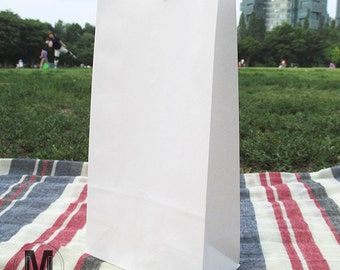 50/ 70/ 100 White Plain Paper Gift Bags_ with FREE STICKERS_Wedding Party favor bags _Small Medium Large 3 size_Stand up Flat Bottom bags
