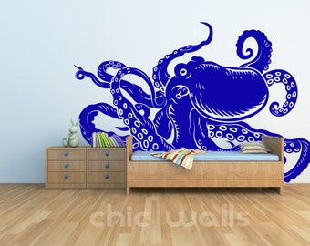 Removable Octopus Wall Glass Refrigerator Art Decor Decal Vinyl Sticker