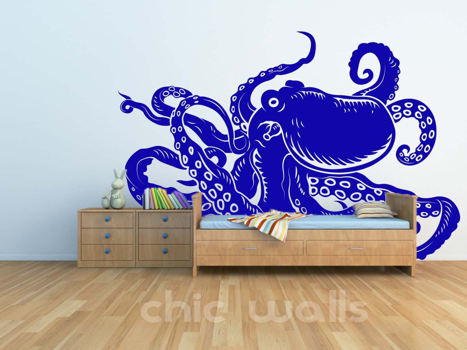 removable octopus wall glass refrigerator art decor decal. Black Bedroom Furniture Sets. Home Design Ideas