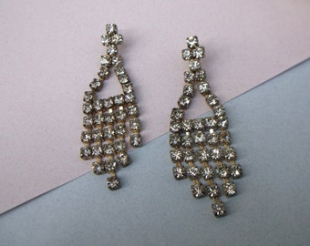 Vintage Late 40's Early 50's   Crystal Sterling Silver Post Earrings