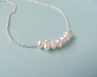 Sterling Silver and Freshwater Pearl Cluster Necklace