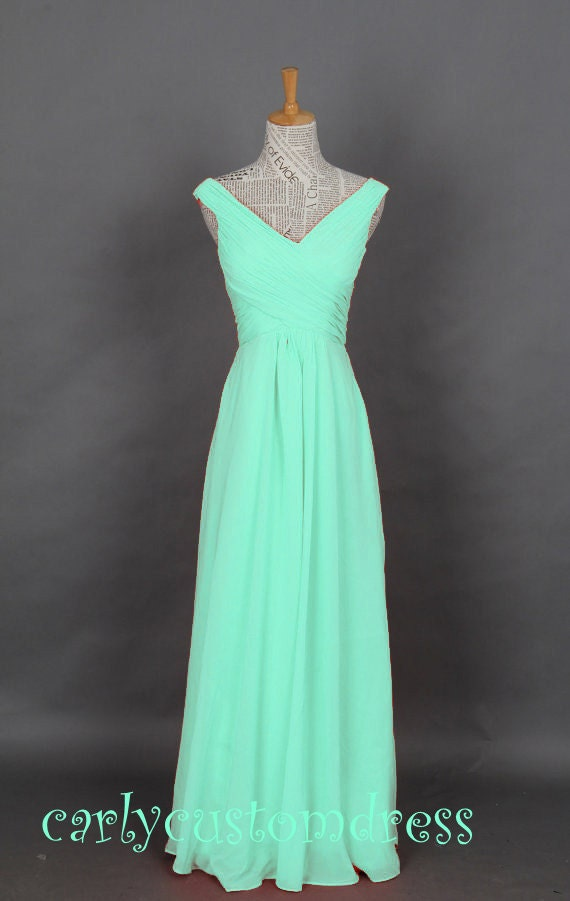 Mint Long Chiffon Bridesmaid Dress Cheap Coral Blue Peach Red Grey Black Prom/Homecoming/Party/Cocktail Dress Wedding Party Dress 2014