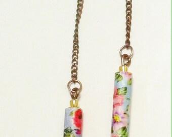 Long bohemian floral paper bead earrings