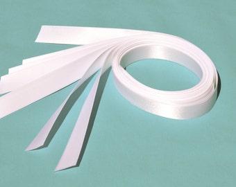 """Precut White Satin Ribbon for Favor Boxes / Jewelry / Invitation Box - 5/8"""" Double Face"""