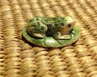 Hand Carved and Painted Bone Frog on Leaf - Bead/Pendant/Charm