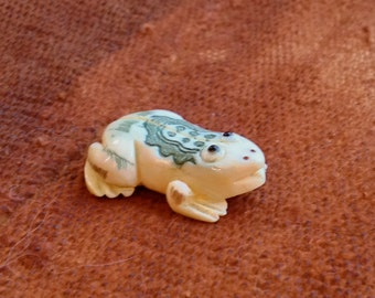 Hand Carved and Painted Bone Frog Bead