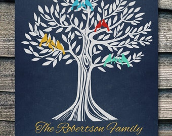 Holiday gifts for grandparents Personalized Family Tree with birds  8,5 x 11""
