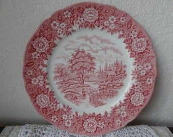 Red Transferware Plate Homeland Francsican Staffordshire England Hand Engraved Pattern Red Transfer Ware Serving Plate (CH280)