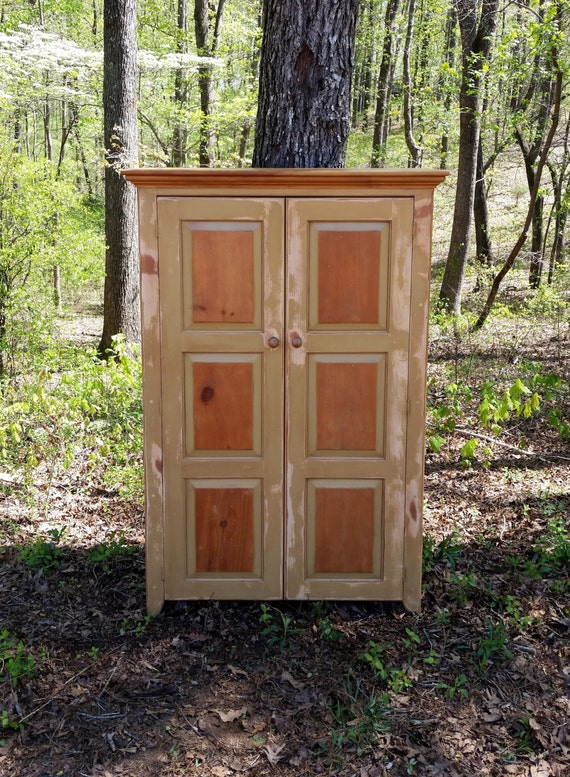Items Similar To Rustic Handcrafted Wood Linen Pantry Great Cabinet For Storage Or Dresser