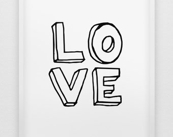 love print // black and white love print // typographic modern print  // anniversary gift // love poster