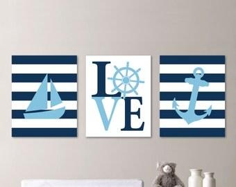 Baby Boy Nursery Art - Nautical Nursery Decor - Nautical Nursery Print -Nautical Nursery Art - Navy White Lt Blue. Nautical Bedroom. NS-540