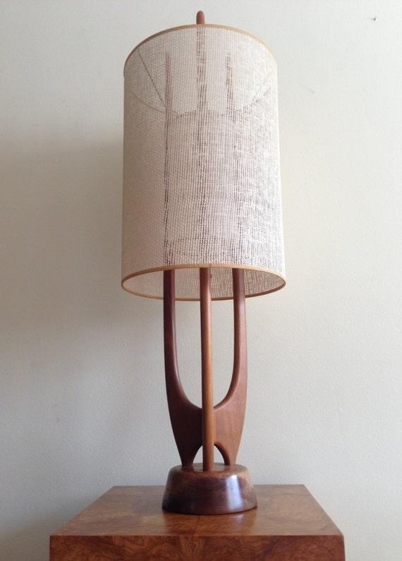 Vintage danish modern sculptural teak rocket table lamp mid for Used wood floor lamp