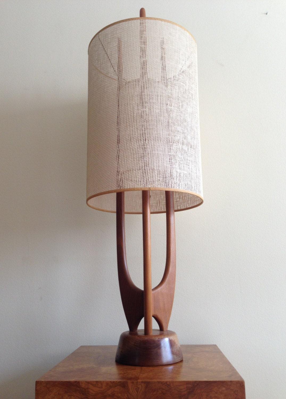 Vintage Danish Modern Sculptural Teak Rocket Table Lamp Mid