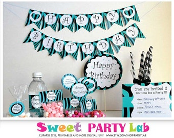 Zebra Birthday Party Set, Printable Black and Turquoise, Diy Party Package, Full Party Decoration Kit, Instant Download -D091