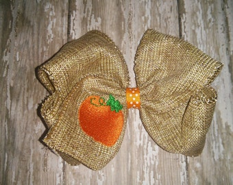 Girl Girls Toddler Baby Embroidered Pumpkin Burlap Bow Boutique! Hair Accessory! Fall Halloween