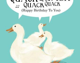 "Sweet Ducks Singing Happy Birthday Song Birthday Card, 5"" x 7"" Printable Card"