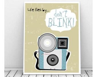 Retro Camera, Instant Digital Art Print, Camera Art, Wall Decor, Vintage Camera, Brownie Camera, Photography, Instant Download, Funny Art