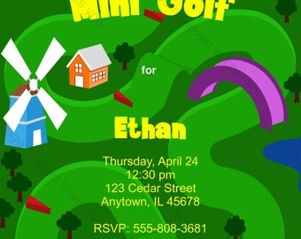 Mini Golf Birthday Invitation - printable design, customizable, instant download For Boys or Girls Putt Putt Party