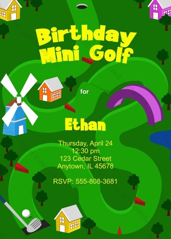 mini golf-geburtstag-einladung druckbare design anpassbar, Einladung