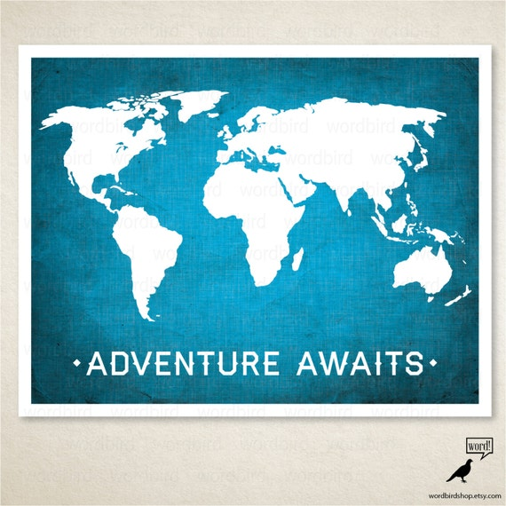 World Map Adventure Awaits Boys Room Wall Art Nursery - Boys room with maps