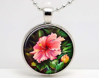 Pink Hibiscus  Art  Glass Pendant or Key Chain- 30 mm round- Chain Included- Made to Order