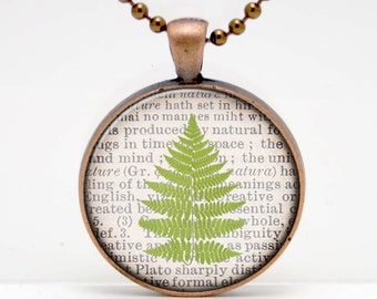 Fern Branch on a Dictionary Page Background Art  Glass Pendant or Key Chain - 30 mm round- Chain Included- Made to Order