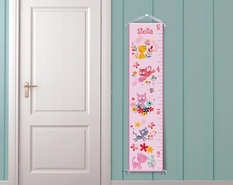 Kitties in Pink Personalized Growth Chart