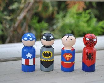 Super Hero Peg Doll Set