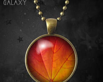 Autumn Leaf Necklace, Fall Leaf Pendant with Chain