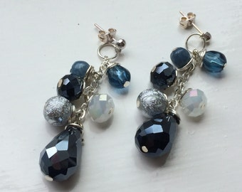 Blue, White and Silver Cluster Earrings