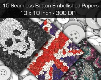 15 Seamless Button Embellished Digital Papers. 10 x 10 Inch. 300 DPI.