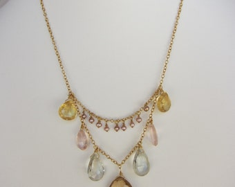 Champagne Citrine Pendant, Green Amethyst, Rose Quartz, Citrine, Pearl Handmade Necklace with 14K Gold Chain