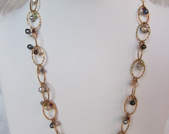 Garnet, Iolite, Pearl Handmade Necklace with 14K Gold Filled Chain