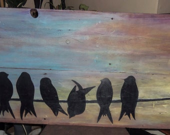 Birds on a Line- original painting on reclaimed barn wood